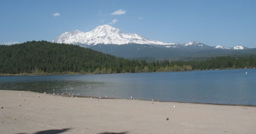 Lake Siskiyou and Mount Shasta from near the campground.
