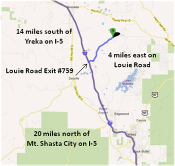 Map and Directions to the Nature Conservancy's Shasta Big Springs Ranch.