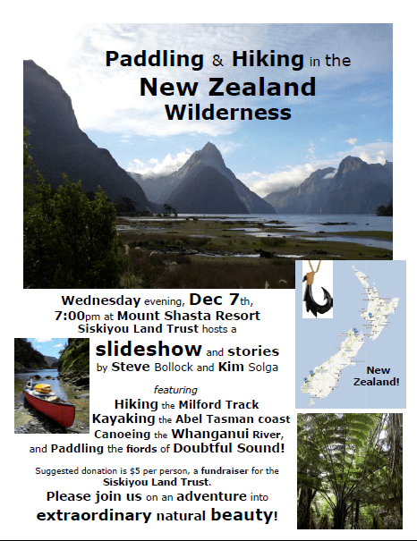 Siskiyou Land Trust presentation on traveling in New Zealand
