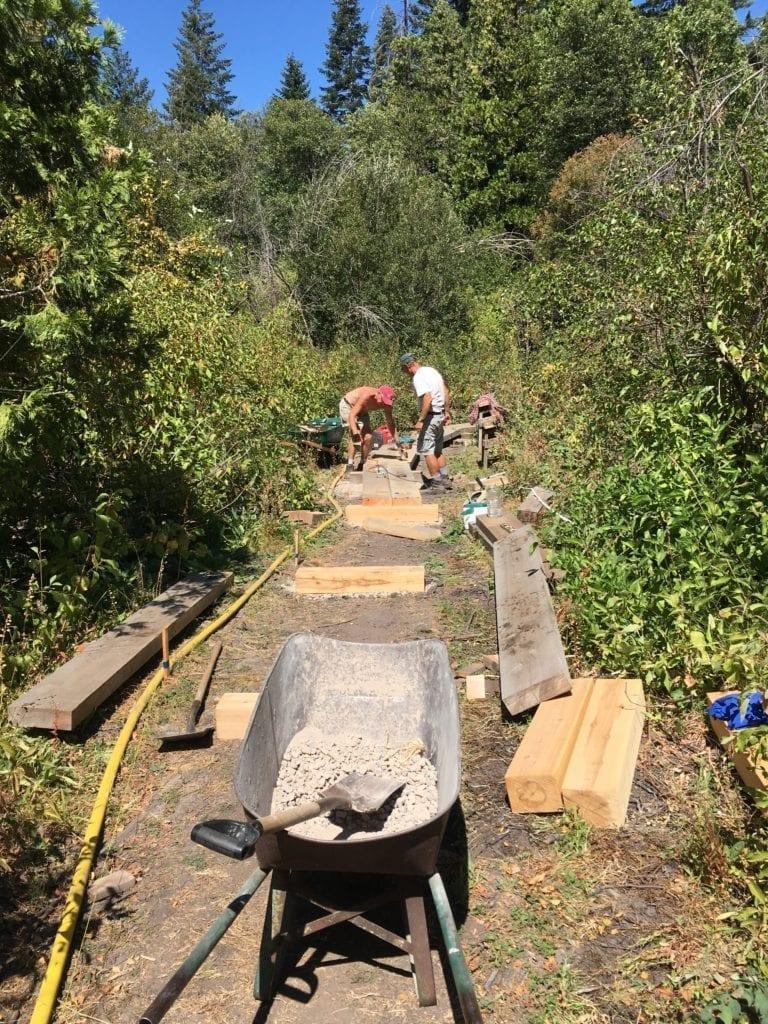 Building the raised boardwalk